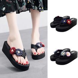 Wholesale Canvas High Shoes Australia - Women's Ladies Summer Flower Home Wedges Beach Shoes High (5cm-8cm) Sandals Flip Flops Casual Slippers