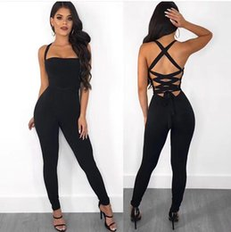 $enCountryForm.capitalKeyWord NZ - Ladies Sexy Hollow Out Lacing Thick Rayon Bandage Jumpsuit 2018 Bodycon Slim Fashion Party Jumpsuit For Women