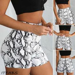 $enCountryForm.capitalKeyWord NZ - Women Casual High Elastic Waist Tight Fitness Slim Shorts Snake Print Sexy Fashion For Female Girls Teenager