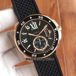 cheap rose watches Australia - New Rose gold case W7100052 mens Automatic watches 42mm black dial High quality cheap Gents sport watches black Rubber strap