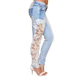 $enCountryForm.capitalKeyWord UK - New Design Vintage Eueopean and American style Long Lace Floral Skinny Spliced Hollow out Hole Straight Denim Jeans Rushed Price