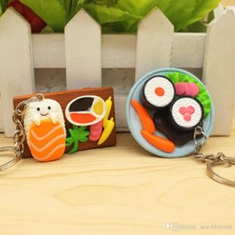 Japanese silicone toy girls online shopping - Free DHL Cute Simulation Sushi Keychains Japanese Food Box Keyring Lanyard Keychain Handbag Pendant Key Ring Funny Toys Mix Styles H443R