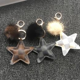 $enCountryForm.capitalKeyWord Australia - Fashion Mink Hair Ball Key Chain Men Women Leather Five-pointed Star Key Chain Plaid Leather Unisex Car Key Pendant
