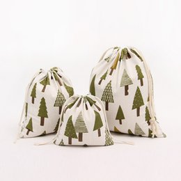$enCountryForm.capitalKeyWord Australia - Green tree pattern 100% cotton linen Drawstring Bag Clothes travel Store organizer dust cloth bag home Sundry kids toy storage bags