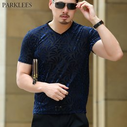 Fitted V Neck T Shirts Australia - Sexy Velvet Velour Transparent T-shirt Men 2019 Fashion New Slim Fit V neck Tshirt Homme Short Sleeve See Through Tops Tees Xxxl