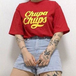 Cute loose girl shirts online shopping - Hahayule Chupa Chups Women Girl Tumblr Fashion Cute Street Style Graphic Tee Hipsters Casual Loose Red T shirt Y19042101