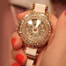 $enCountryForm.capitalKeyWord NZ - 2019 NEW women fashion watch luxury Rose gold crystal diamond bracelet watches Ceramic Strap dress Watch rhinestone clock saat