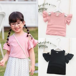 off shoulder designs shirt NZ - Baby Kids Designer Clothing T Shirt Off Shoulder Ruffles Short Sleeve Solid Color Design T Shirt