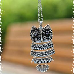 Vintage metal owl online shopping - Women retro owl necklace fashion sweater chain Long boots pendant trendy vintage metal necklace
