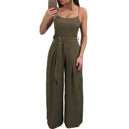 Green Jumpsuit Black Woman UK - 2019 New Sexy Women Spaghetti Strap Jumpsuit Romper Sleeveless Backless Wide Leg Pants with Belt Black Army Green Sexy Bodysuit