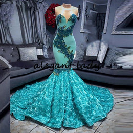 fashion gala dresses NZ - Turquoise 3D Flowers Mermaid Black Girls Prom Dresses 2020 African Long Gala Graduation Evening Dress Plus Size Formal Party Gowns