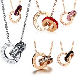 roses for women Australia - luxury jewelry for women rose gold color double rings pendant necklace titanium steel necklaces hot fasion