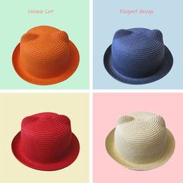 $enCountryForm.capitalKeyWord Australia - Colorful Summer kid Hat Boy Girl caps Handmade Straw baby Hats cartoon Candy Color Cat ears