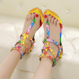flat tie clip NZ - New 2018 Multicolor Color Rivets Spiked Gladiator Flat Sandals Stones Studded Clip-toe Flip Sandal Big Size Designer Women Shoes Summer