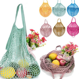 Round Kitchen Sets Australia - Reusable Grocery Produce Bags Cotton Mesh Ecology Market String Net Shopping Tote Bag Kitchen Fruits Vegetables Hanging Bag LX6385