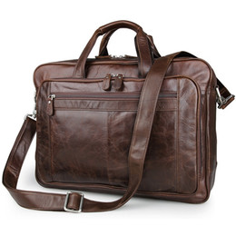 "$enCountryForm.capitalKeyWord Australia - Luxury Genuine Leather Men's briefcases Business Bag Leather messenger bag shoulder bag For Men 17"" laptop briefcase #MD-J7320 #159595"