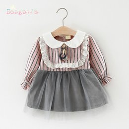 Pink Baby Tutu Australia - 2018 Spring Preppy Long Sleeved Baby Infants Girls Kids Tutu Striped Patchwork Lace Ruffles Party Princess Dress Vestidos S6241 Y19061101