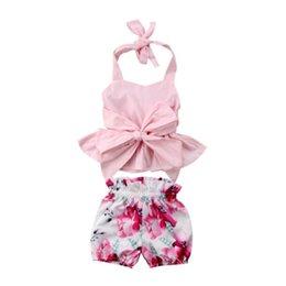 $enCountryForm.capitalKeyWord Australia - Newborn Kid Baby Girl Clothing Bow-knot Tops T-shirt Vest Halter Floral Shorts 2pcs Cute Summer Clothes Baby Girls 0-24M