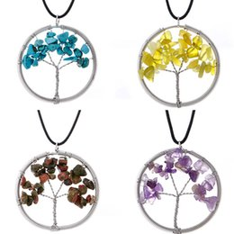 $enCountryForm.capitalKeyWord Australia - Tree of Life Pendant Necklace Colorful Life Tree Root Chain Necklaces Round Hollow Women Natural Turquoise Gravel Stone Crystal Jewelry