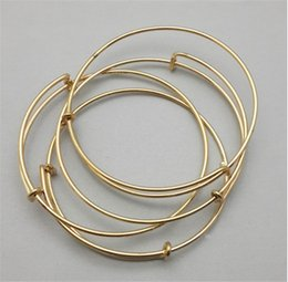 rose gold plated wire wholesale Canada - Silver Gold Rose Gold Tone Copper Expandable Wire Bangle Bracelet For Beading Or Charm Alex Bracelets Bangle