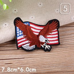 Wholesale letter iron motifs resale online - PGY New USA Flags Embroidered Patches eagle letter Glass iron on patches Motif Applique badge popular embroidery accessories
