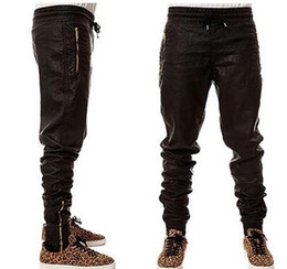 Discount big tall mens fashion - Man New Kanye West Hip Hop Big Snd Tall Fashion Zippers Jogers Pant Joggers Dance Urban Clothing Mens Faux Leather Pants