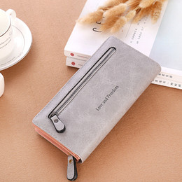 $enCountryForm.capitalKeyWord Australia - Women's wallet casual fashion multi-function card package solid color matte zipper ladies long hand wallet phone bag