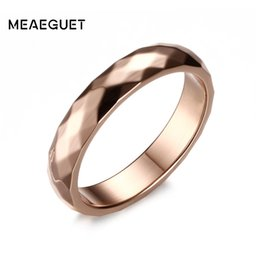 $enCountryForm.capitalKeyWord Australia - rings for women Meaeguet 4mm Wide Hand Cut Rose Gold Color Stainless Steel Wedding Band Engagement Rings For Women Jewelry USA Size 5-10