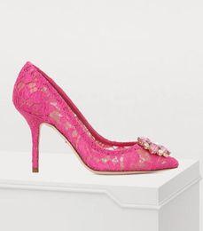 $enCountryForm.capitalKeyWord NZ - Moraima Snc Fashion Lace High Heel Shoes Woman Sexy Pointed Toe Thin Heels Pumps Crystal Flower Decorations Stiletto Shoes