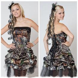 $enCountryForm.capitalKeyWord Australia - 2019 New Lovely Camo Short Prom Gowns Strapless Neckline Sexy Corset Back Pick Ups Skirt Knee Length Prom Dresses