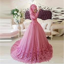 Wholesale Long Sleeves Arabic Muslim Wedding Dress long sleeve Kerchief Turkish pink Lace Applique high neck Ball Gown Islamic Bridal Dresses