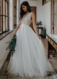 $enCountryForm.capitalKeyWord Australia - Ivory Princess Fashion Robe de Mariee Tulle Backless Vintage V Neck Floor Length A Line Wedding Dress Beach Simple Lace Bridal Gowns Boho