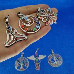 $enCountryForm.capitalKeyWord Australia - 7 Chakra Stones Chakra Reiki Point tree of life pendant charm pendant jewelry Yoga charm 3D stones for diy necklace designer necklace