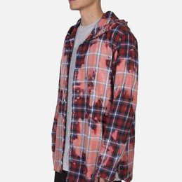 Wholesale hooded plaid shirt women online – Vlone Chinese Dragon Tie Dyed Old Plaid Hooded Shirt Coat Men And Women High Quality Fashion Shirt Hfbyjk170