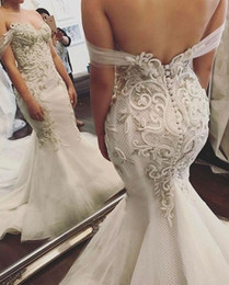$enCountryForm.capitalKeyWord Australia - 2019 Mermaid Wedding Dresses Modest Plus Size Off Shoulder Trumpet Backless Bridal Gowns Sweep Train Tulle Lace African Custom Made