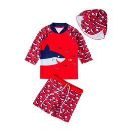 $enCountryForm.capitalKeyWord Australia - Toddler Kids Baby Boys Bikini Set 2-7Y Swimwear Cartoon Print Tops+Pants+Hats Swimsuit Bathing Surfing Suit UV 50+