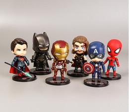 2019 New 6 Anime handgefertigten Spielzeug Avengers Puppe Iron Man Spider-Man Captain America Ornamente Kinderspielzeug Geschenke