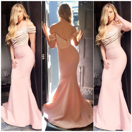 $enCountryForm.capitalKeyWord Australia - Sweet Pink Off Shoulder Mermaid Bridesmaid Dresses Sparkling Sequin Top Backless Wedding Guest Dress Simple Cheap Special Occasion Dress