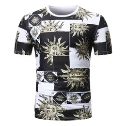 Flower Print T Shirt Men Australia - Male 2019 Brand Summer Short Sleeve Sun Flower Print Casual T Shirt O-neck Slim Men T-shirt Tops Fashion Mens Tee Shirt T Shirts