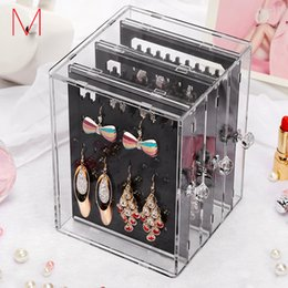 Wholesale M earring holder Jewelry Display Earrings Organzier Box Caskets For Decoration Acrylics Box For Earring Rack