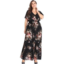aea45fc5529a 2019 Women Plus Size Floral Print Casual Dress Fashion V-neck Short Sleeve  Summer Dress Bohemian High Waist Maxi Dresses