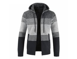 $enCountryForm.capitalKeyWord Australia - 2018 FW Mens Knit Cardigans Silm Contrast Color Hooded Jackets 4 Colors Long Sleeve Fleeced Sweaters for Male M - 3XL