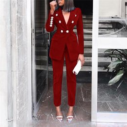 Wholesale double breast suit for sale - Group buy Ladies Casual Blazer Solid Color Suit Two Piece Suit Slim Fit Double Breasted Long Sleeve Blazers