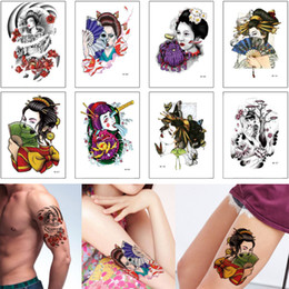 tattoo designs for ankle Australia - Waterproof Temporary Tattoo Sticker Geisha Sexy Woman Skull Fan Decal Design for Female Male Arm Sleeve Shoulder Back Body Tattoo Summer New