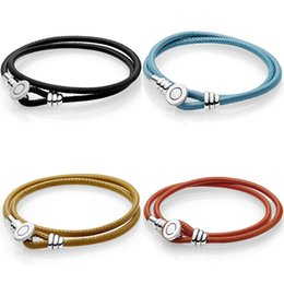 $enCountryForm.capitalKeyWord Australia - Original Multicolor Double Leather With Logo Button Clasp Bracelet Bangle Fit 925 Sterling Silver Bead Charm Diy Europe Jewelry