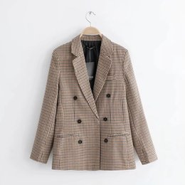 Lattice suits online shopping - JAYCOSIN Women s Blazer Fashion plaid blazers Retro Button Lattice Shoulder Pads Suit Coats female Polyester jackets Turn down C