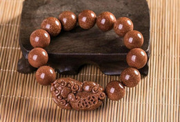 Fashionable Necklace Beads Australia - Fine Jewelry A Unique And Fashionable Gold Stone Gem Handmade Beads Loong Pixiu Bracelet Free Shipping