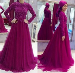 $enCountryForm.capitalKeyWord Australia - Modest Muslim Tulle Evening Dresses Long Sleeves A Line Lace Appliqued Floor Length Prom Party Gowns Formal Event Wear vestido de noche