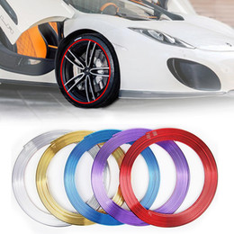 Discount bmw chrome accessories - 8M Car Chrome Wheel Hub Decoration Moulding Trim Strip Tape Auto DIY Tyre Tire Rim Protective Decal Sticker Universal Ac
