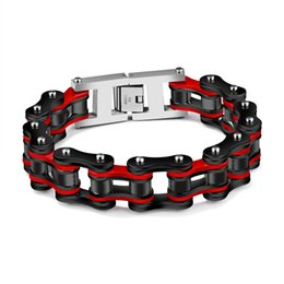 $enCountryForm.capitalKeyWord Australia - Pop cross-border hot sale red black color bracelet Titanium steel men's bracelet Rock personality locomotive Bicycle chain bracelet